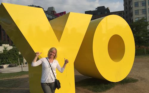 Carmen with YO sculpture